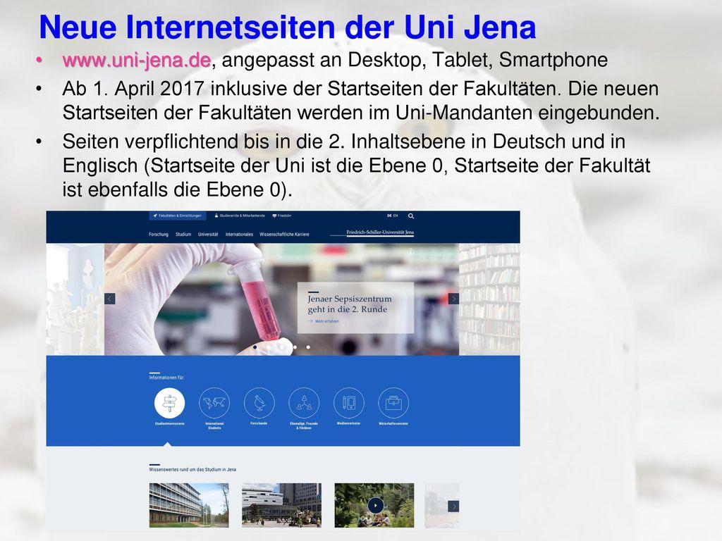 Neue Internetseiten der Uni Jena