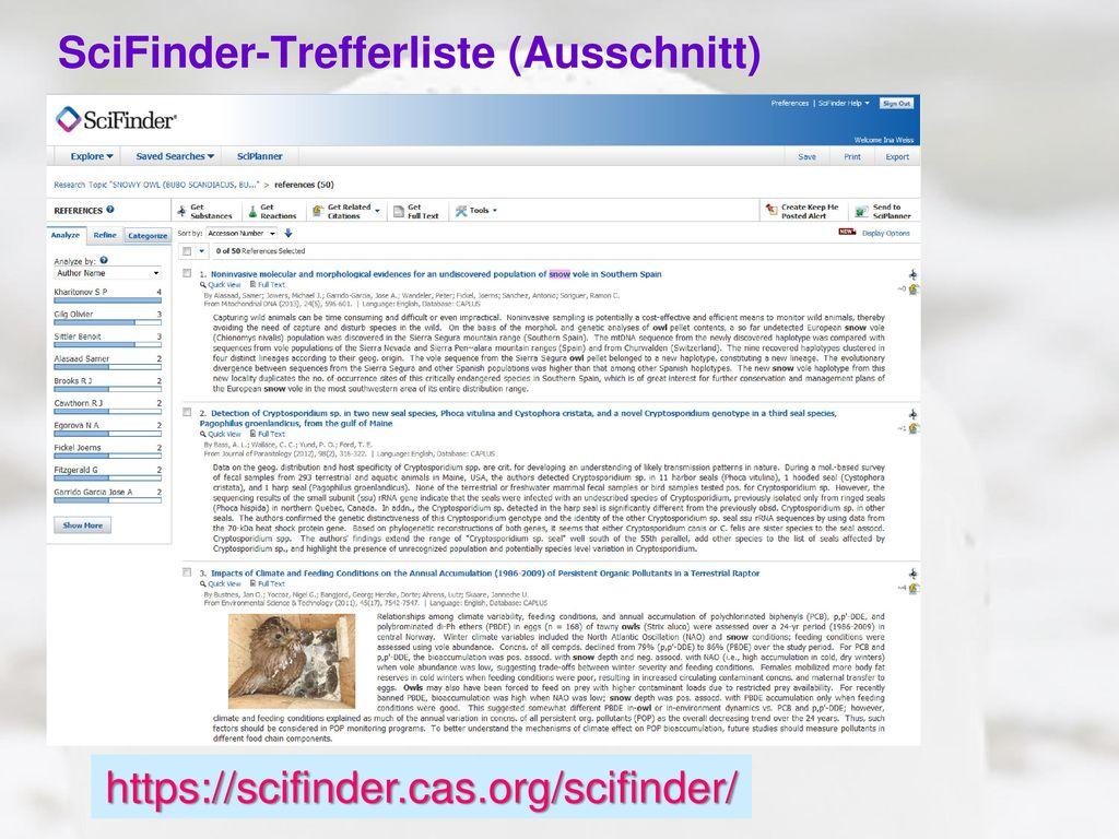 SciFinder-Trefferliste (Ausschnitt)