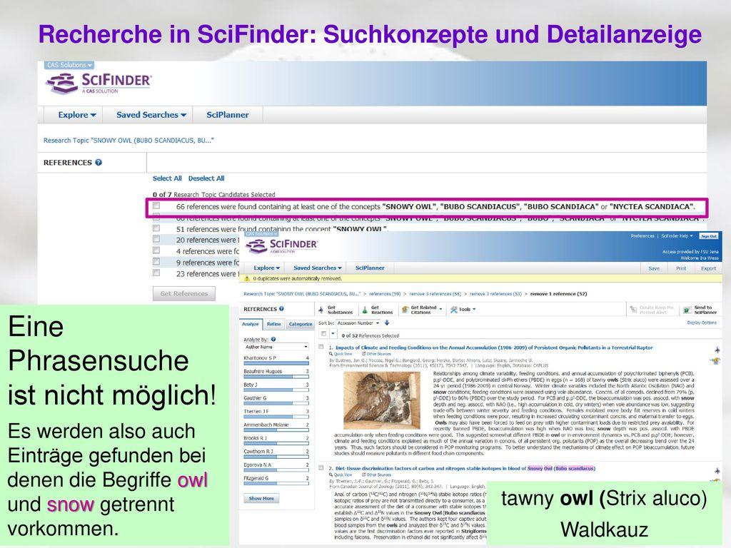 Recherche in SciFinder: Suchkonzepte und Detailanzeige