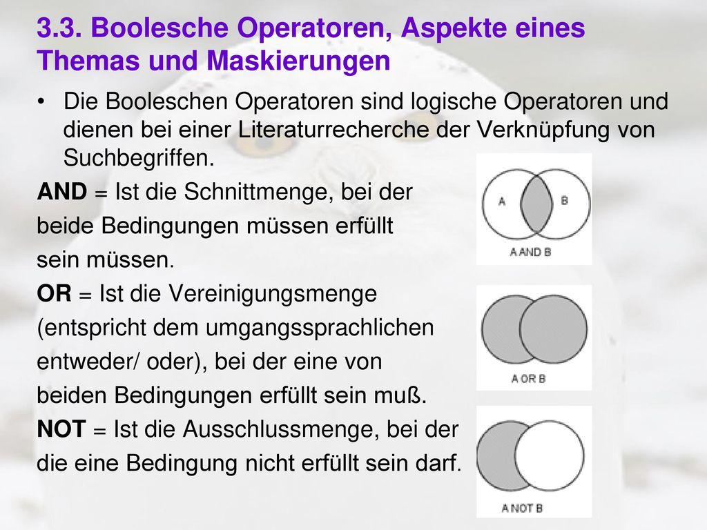 3.3. Boolesche Operatoren, Aspekte eines Themas und Maskierungen