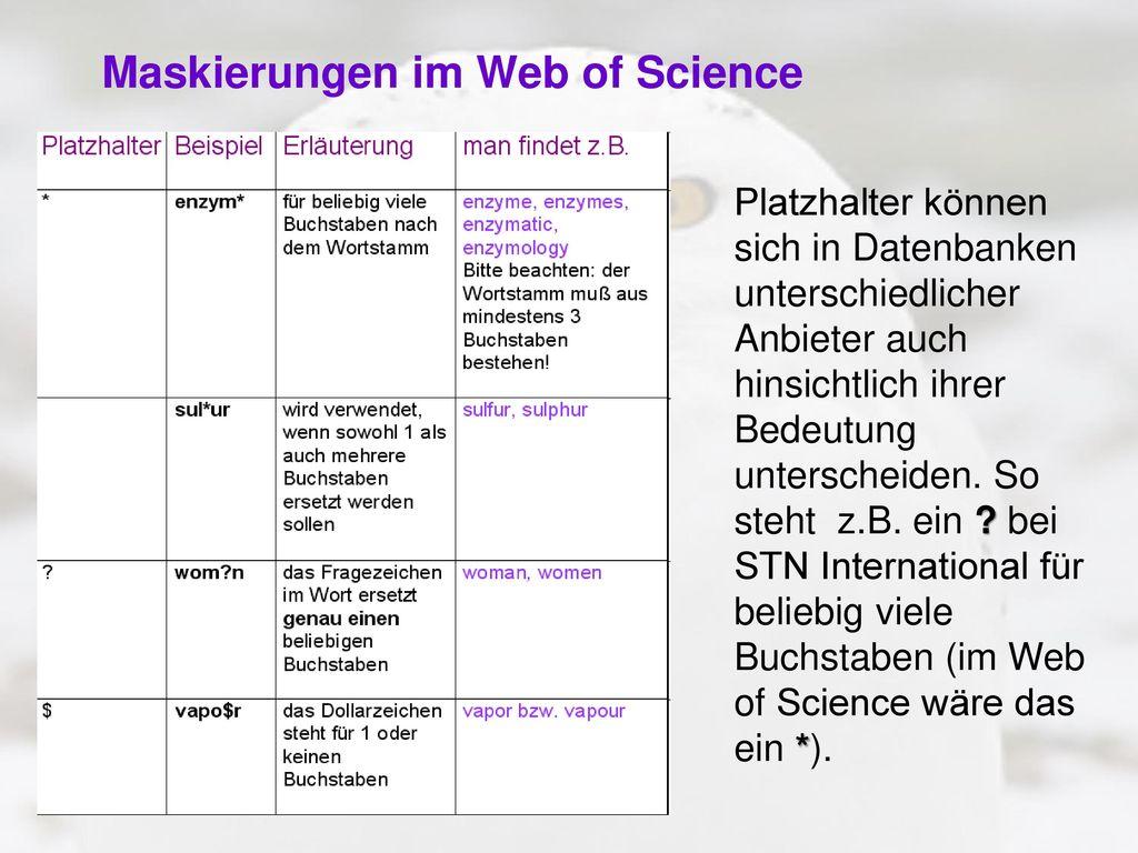 Maskierungen im Web of Science