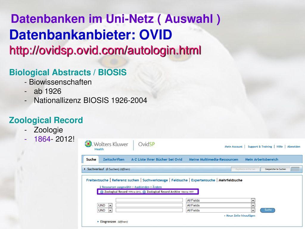 Datenbanken im Uni-Netz ( Auswahl )
