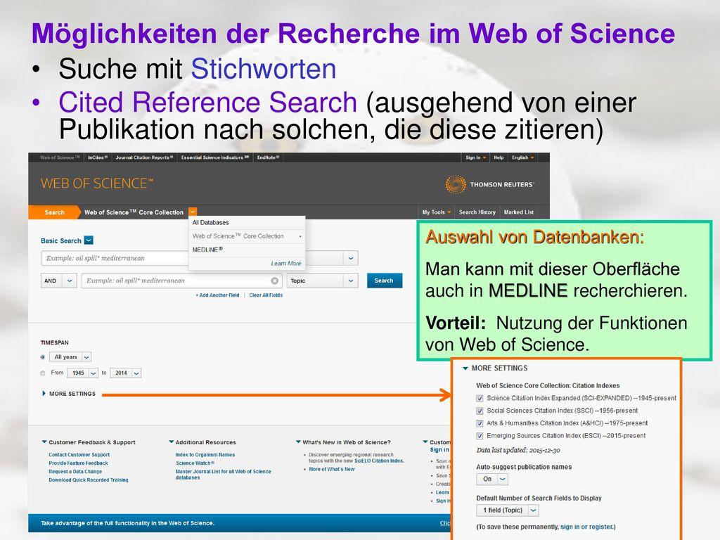 Möglichkeiten der Recherche im Web of Science