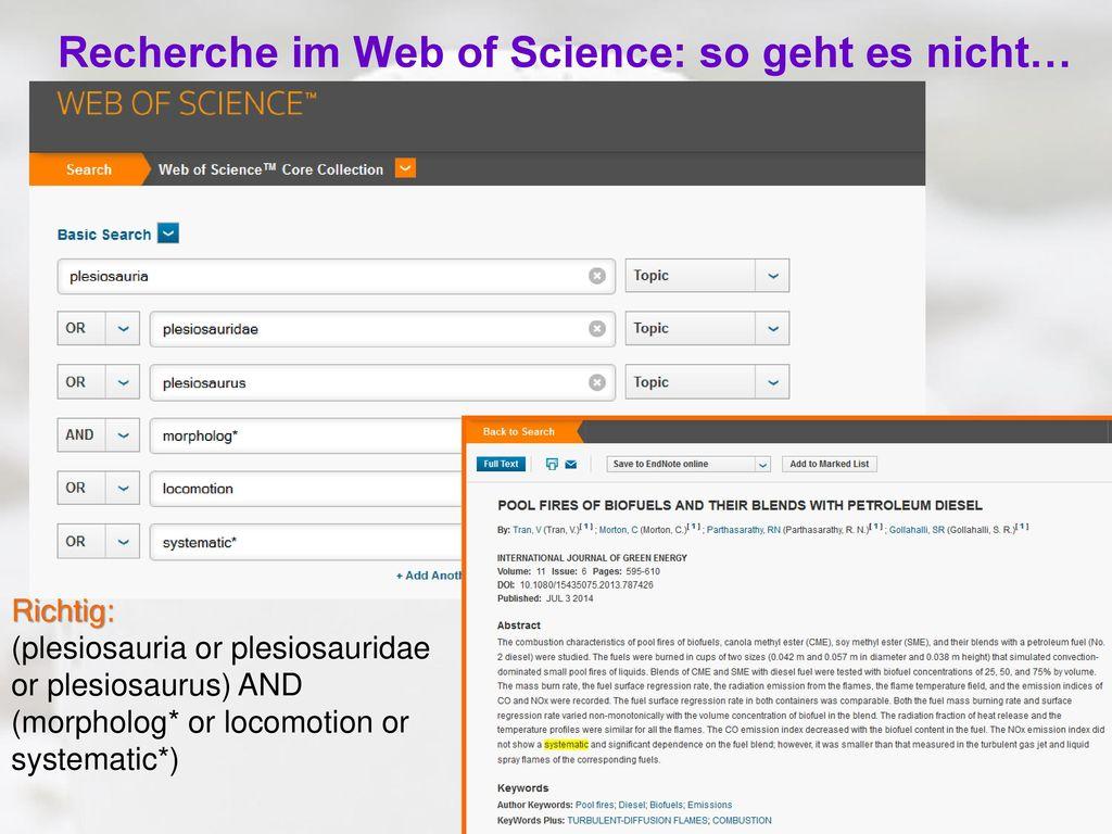 Recherche im Web of Science: so geht es nicht…