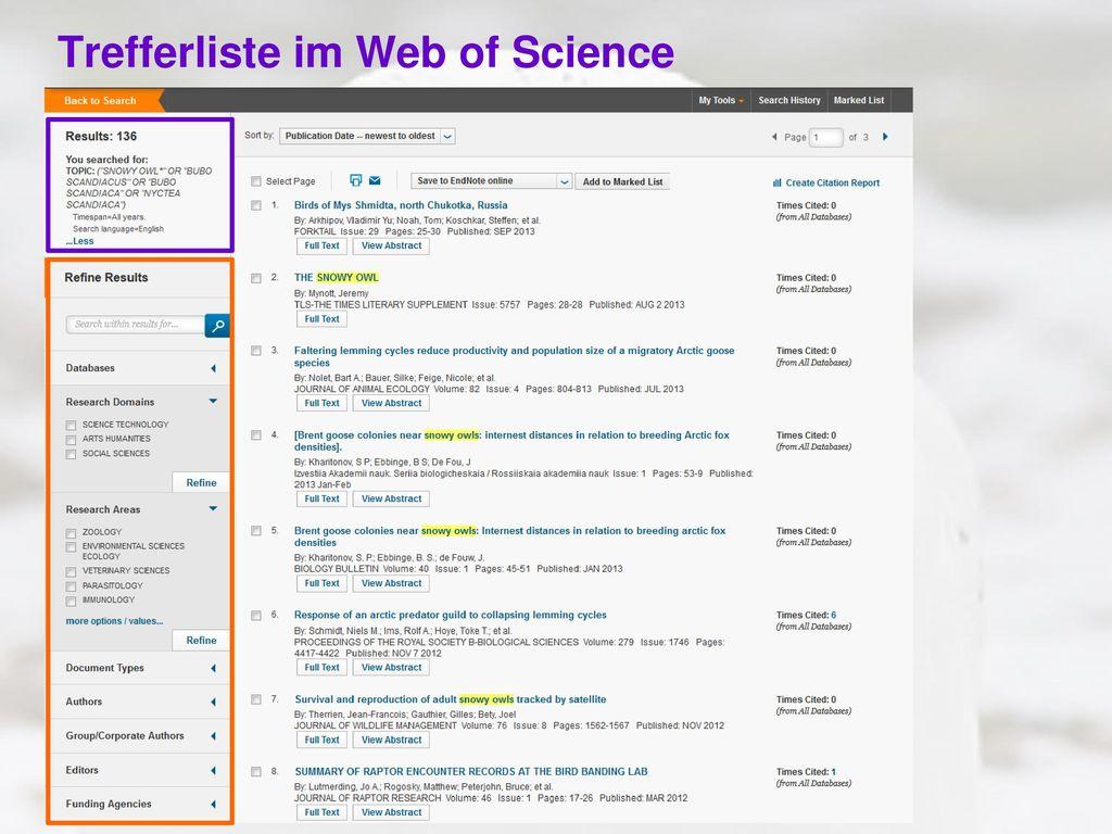 Trefferliste im Web of Science