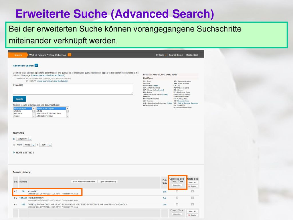 Erweiterte Suche (Advanced Search)