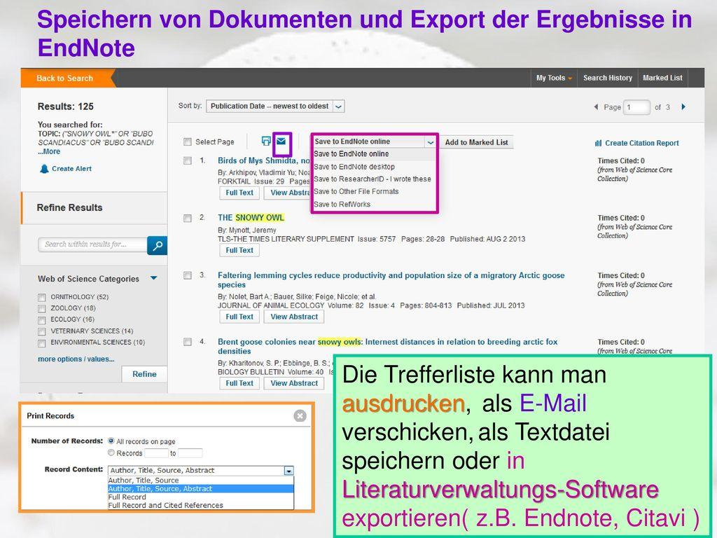 Speichern von Dokumenten und Export der Ergebnisse in EndNote