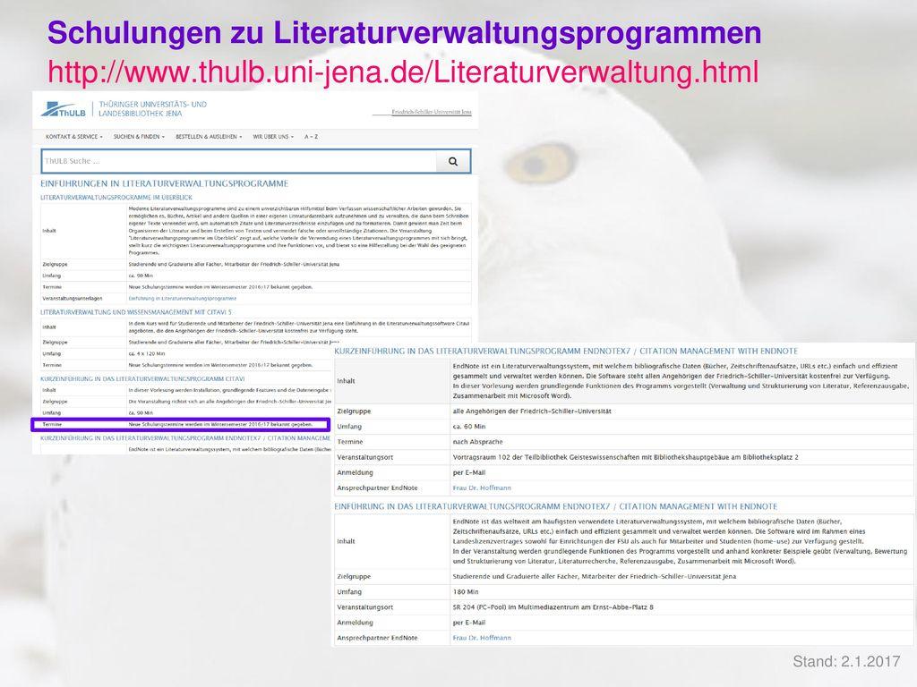 Schulungen zu Literaturverwaltungsprogrammen