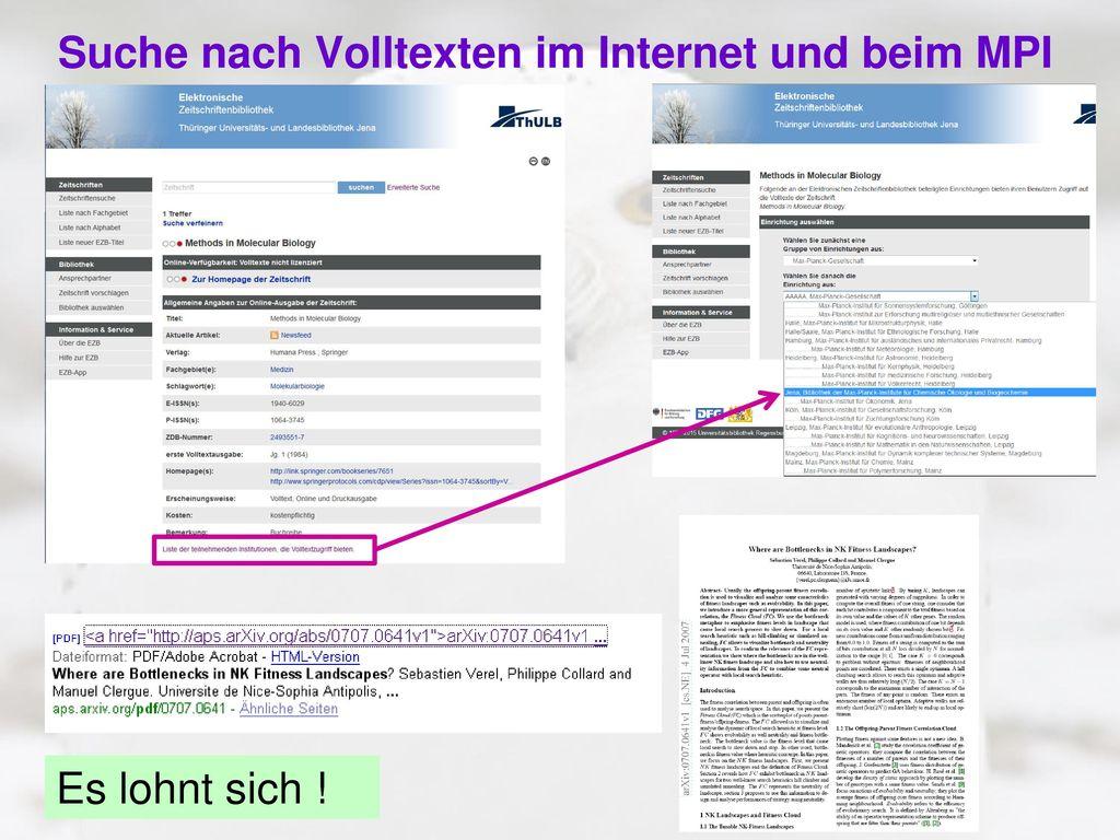 Suche nach Volltexten im Internet und beim MPI