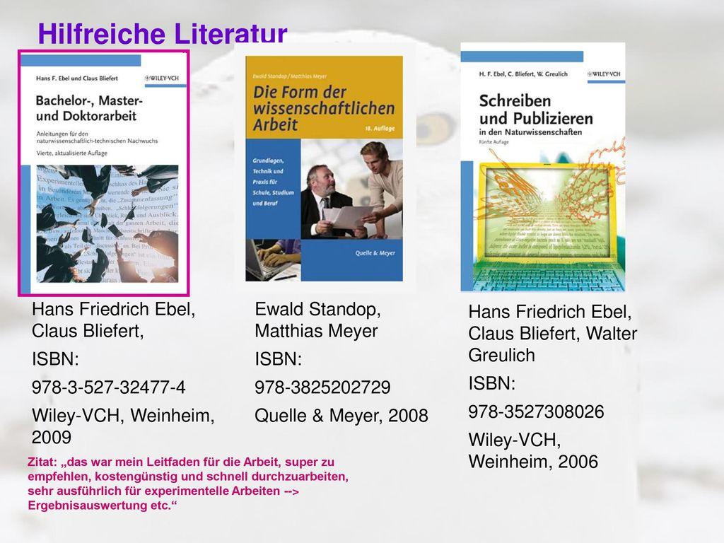 Hilfreiche Literatur Hans Friedrich Ebel, Claus Bliefert, ISBN: