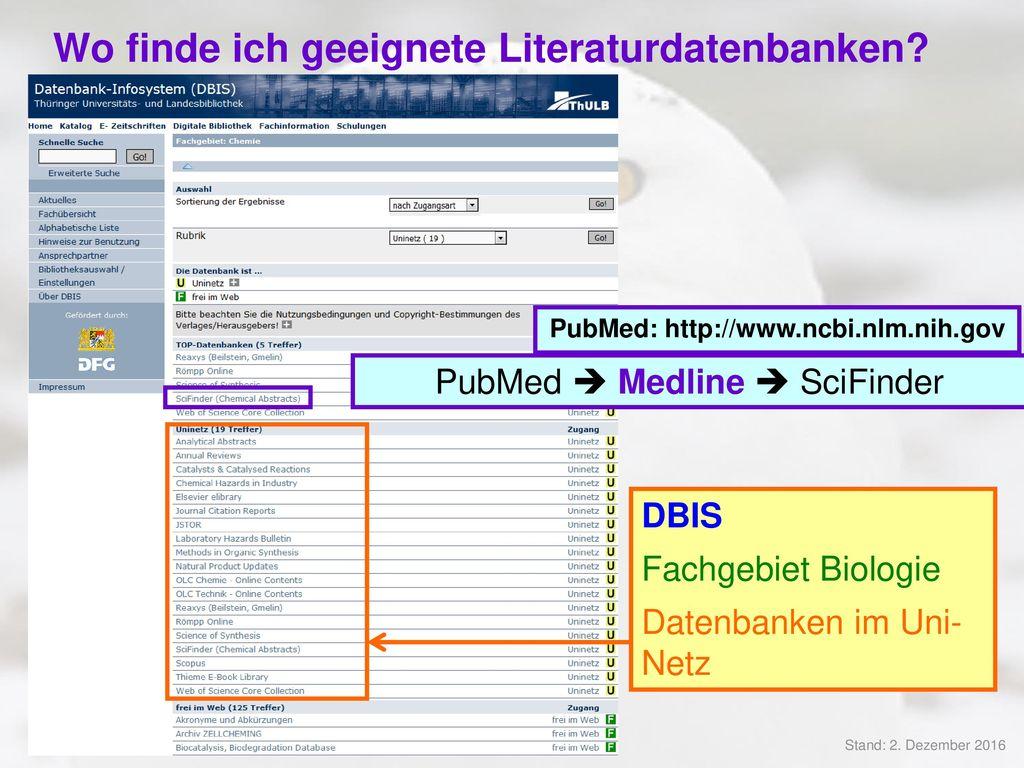 Wo finde ich geeignete Literaturdatenbanken
