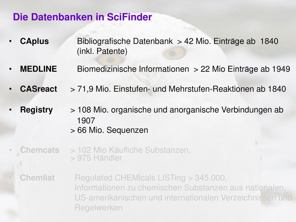Die Datenbanken in SciFinder