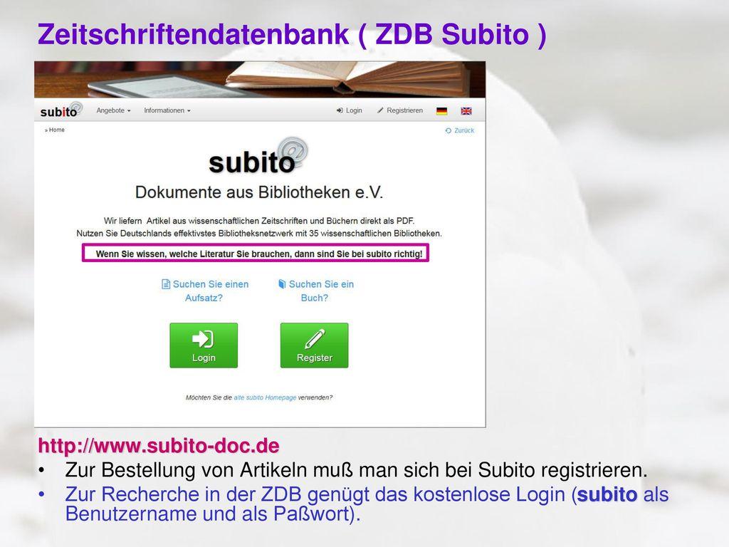 Zeitschriftendatenbank ( ZDB Subito )