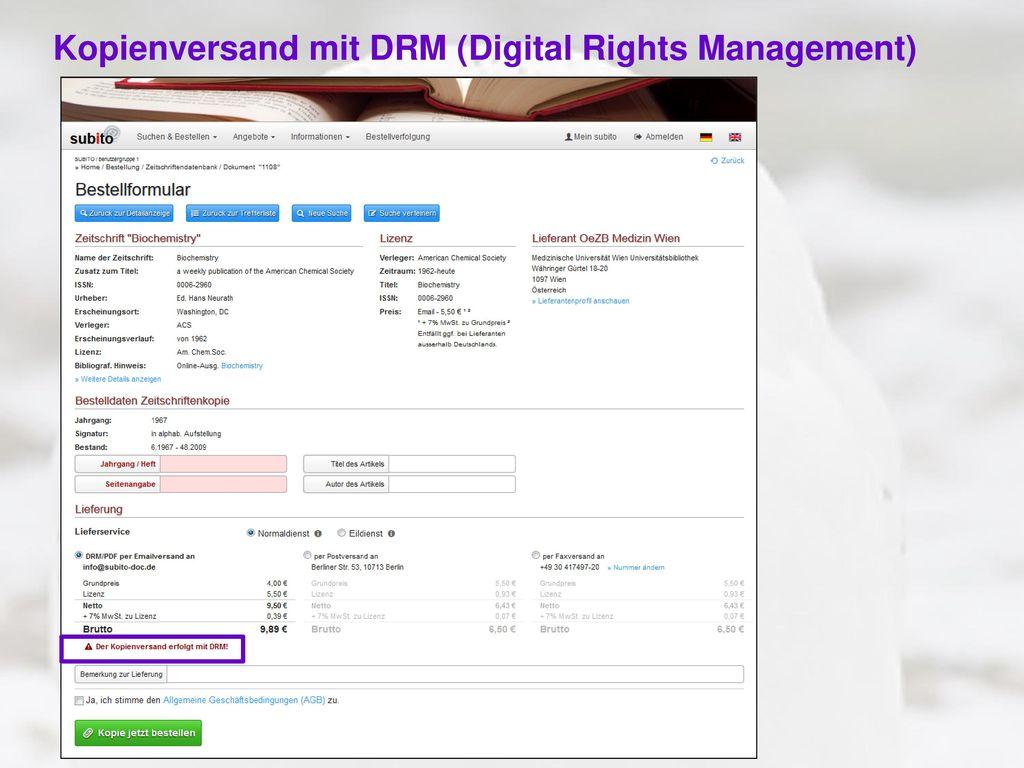 Kopienversand mit DRM (Digital Rights Management)