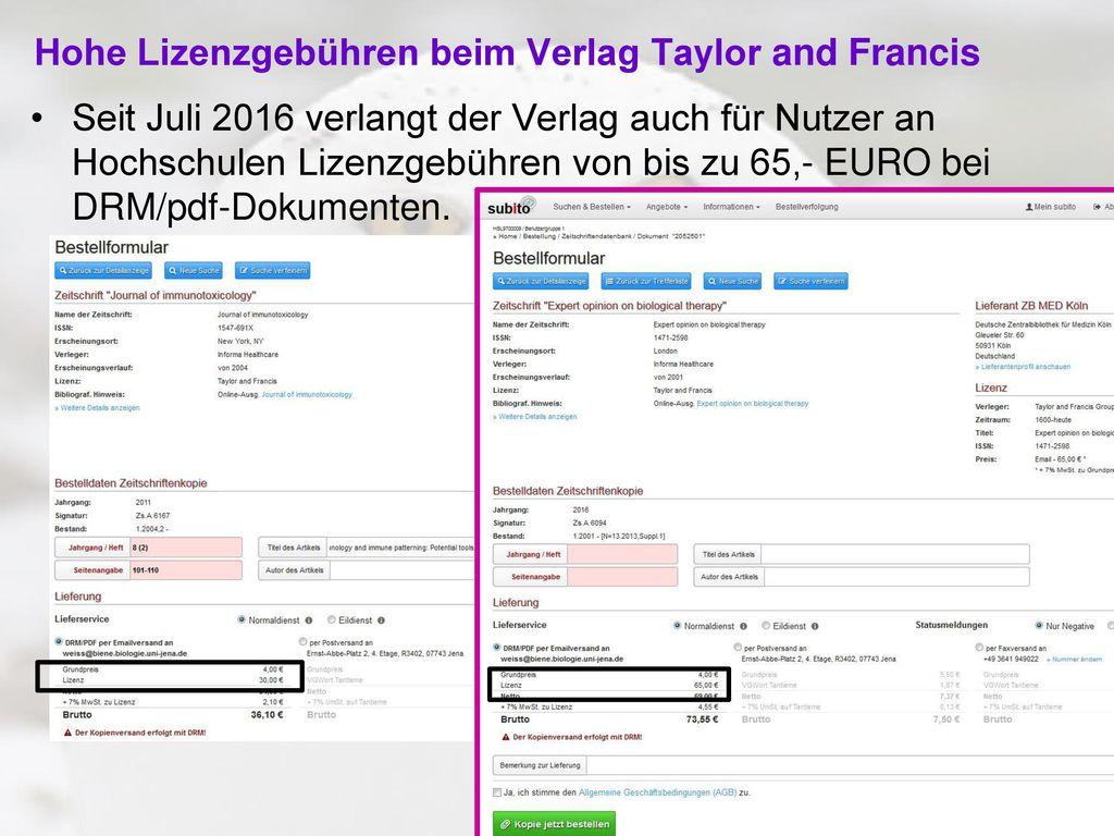 Hohe Lizenzgebühren beim Verlag Taylor and Francis