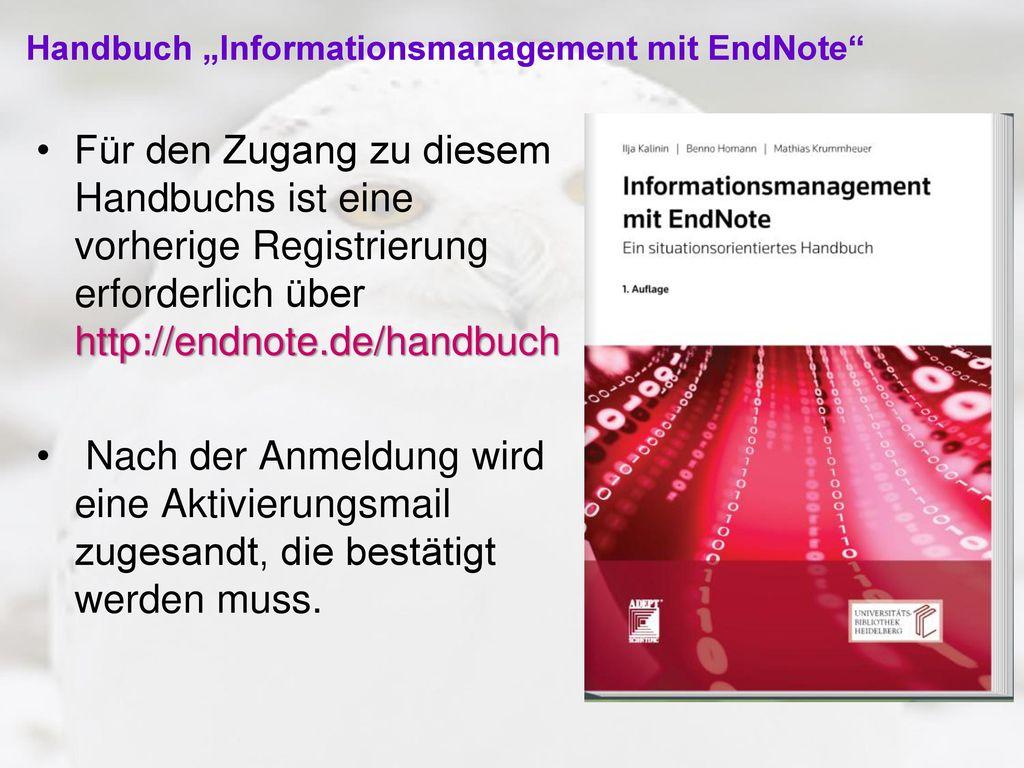 """Handbuch """"Informationsmanagement mit EndNote"""