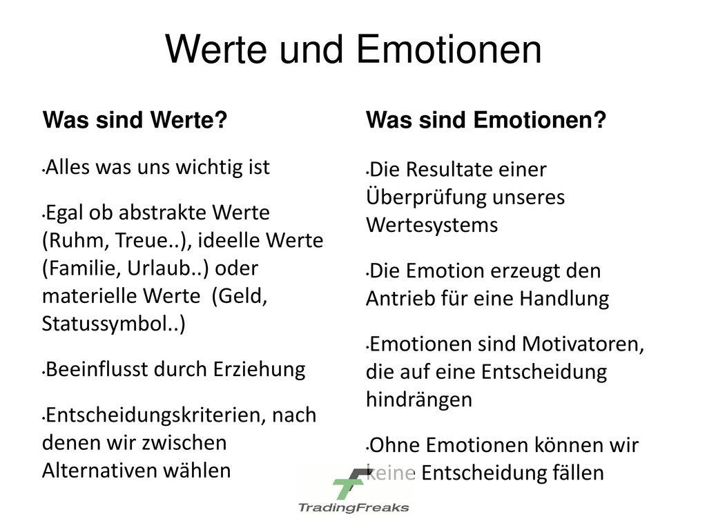 Werte und Emotionen Was sind Werte Was sind Emotionen
