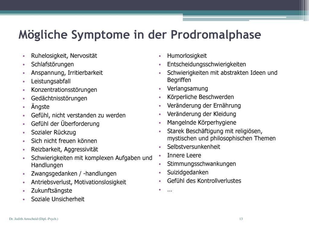 Mögliche Symptome in der Prodromalphase