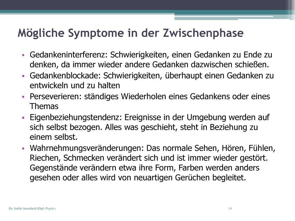 Mögliche Symptome in der Zwischenphase