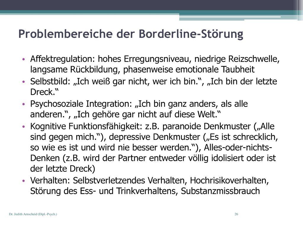 Problembereiche der Borderline-Störung