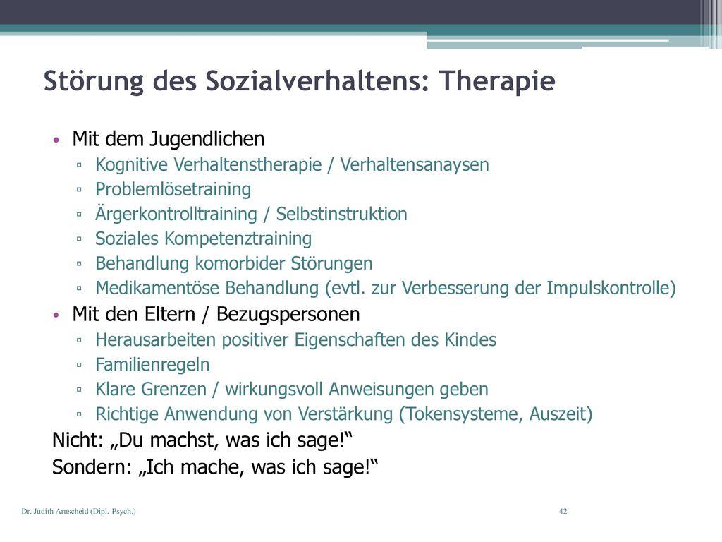 Störung des Sozialverhaltens: Therapie