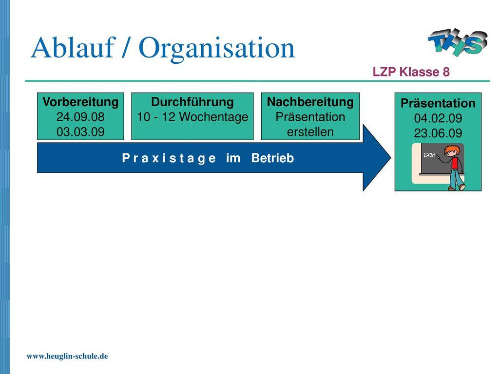 Ablauf / Organisation LZP Klasse 8 Vorbereitung 24.09.08 03.03.09