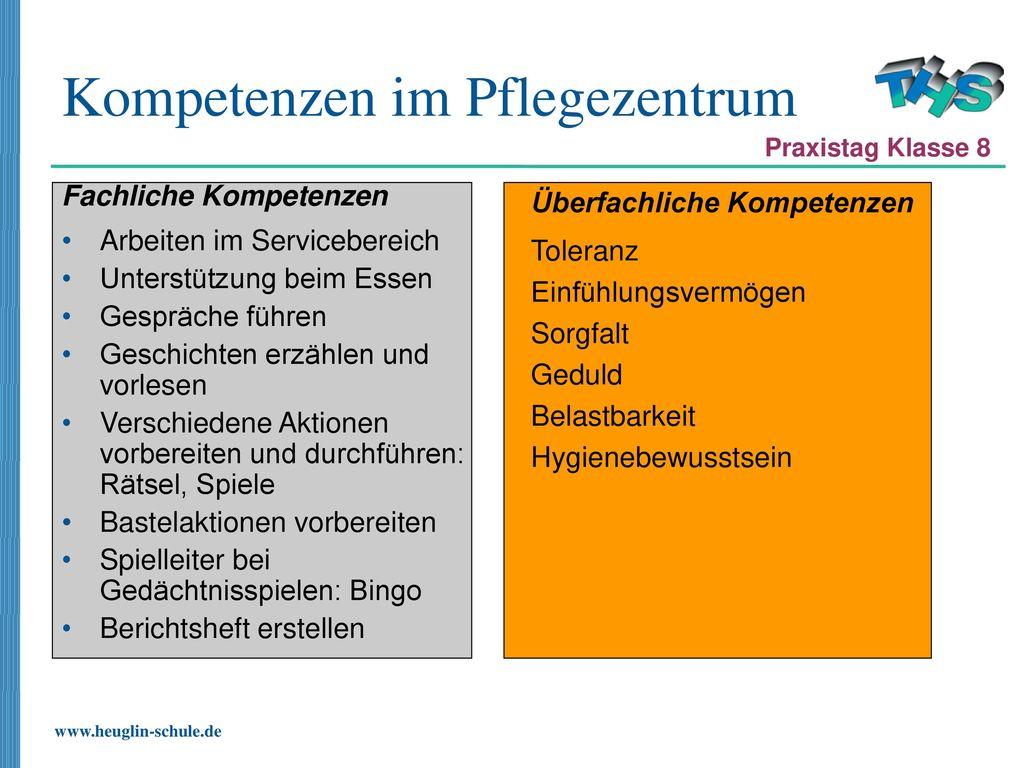 Kompetenzen im Pflegezentrum