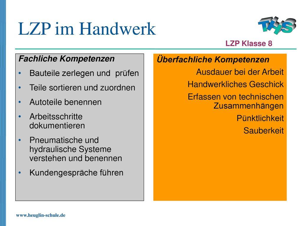 LZP im Handwerk Fachliche Kompetenzen Bauteile zerlegen und prüfen
