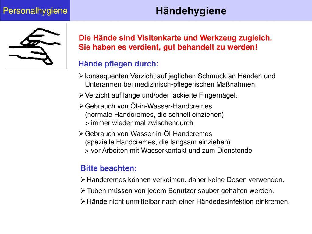 Händehygiene Personalhygiene