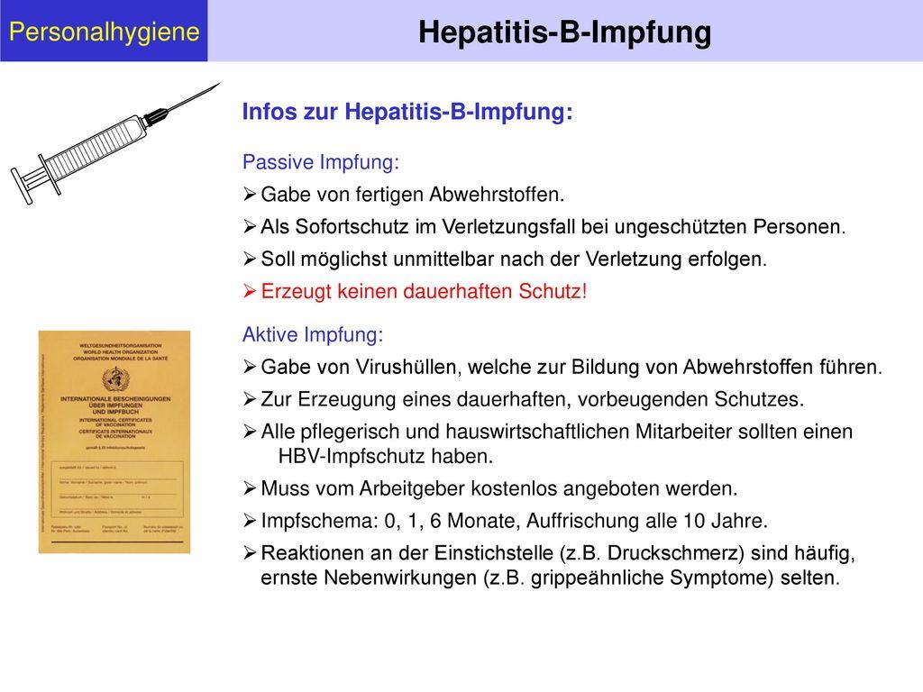 Hepatitis-B-Impfung Personalhygiene Infos zur Hepatitis-B-Impfung: