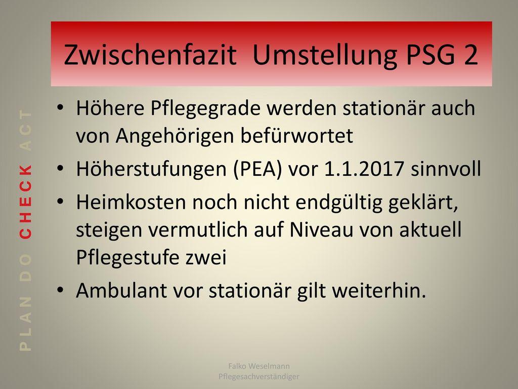 Zwischenfazit Umstellung PSG 2