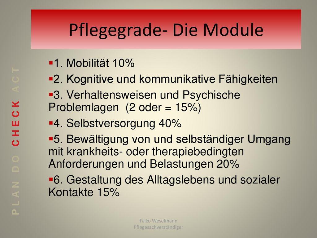 Pflegegrade- Die Module