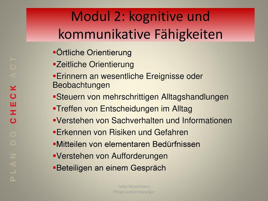 Modul 2: kognitive und kommunikative Fähigkeiten