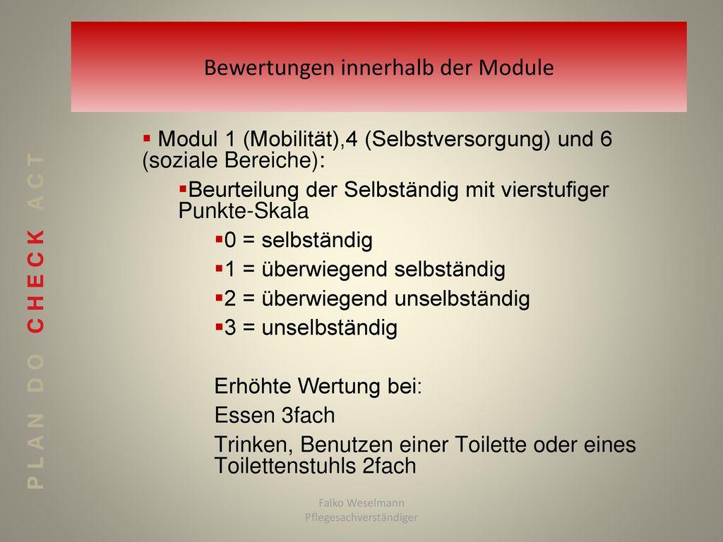 Bewertungen innerhalb der Module