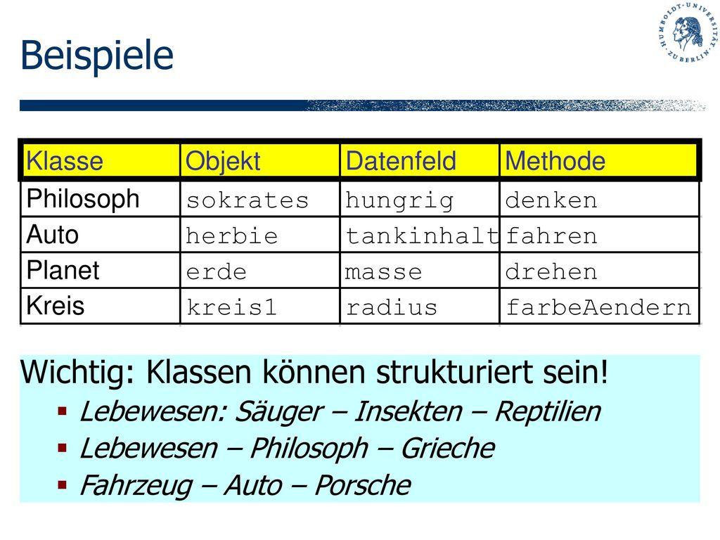 Beispiele Wichtig: Klassen können strukturiert sein!