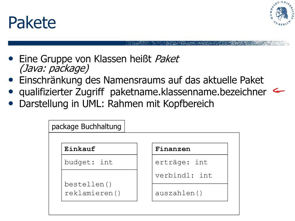 Pakete Eine Gruppe von Klassen heißt Paket (Java: package)