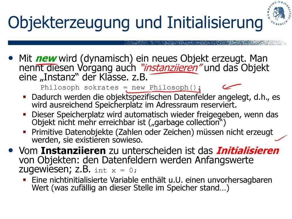Objekterzeugung und Initialisierung