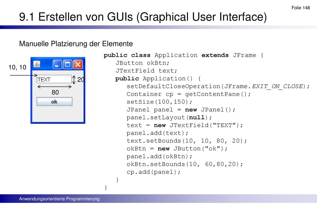 9.1 Erstellen von GUIs (Graphical User Interface)