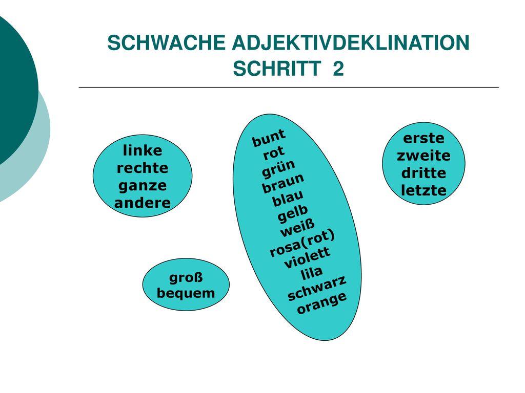 SCHWACHE ADJEKTIVDEKLINATION SCHRITT 2