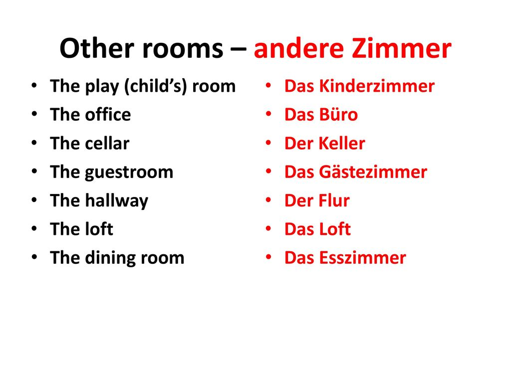 Other rooms – andere Zimmer