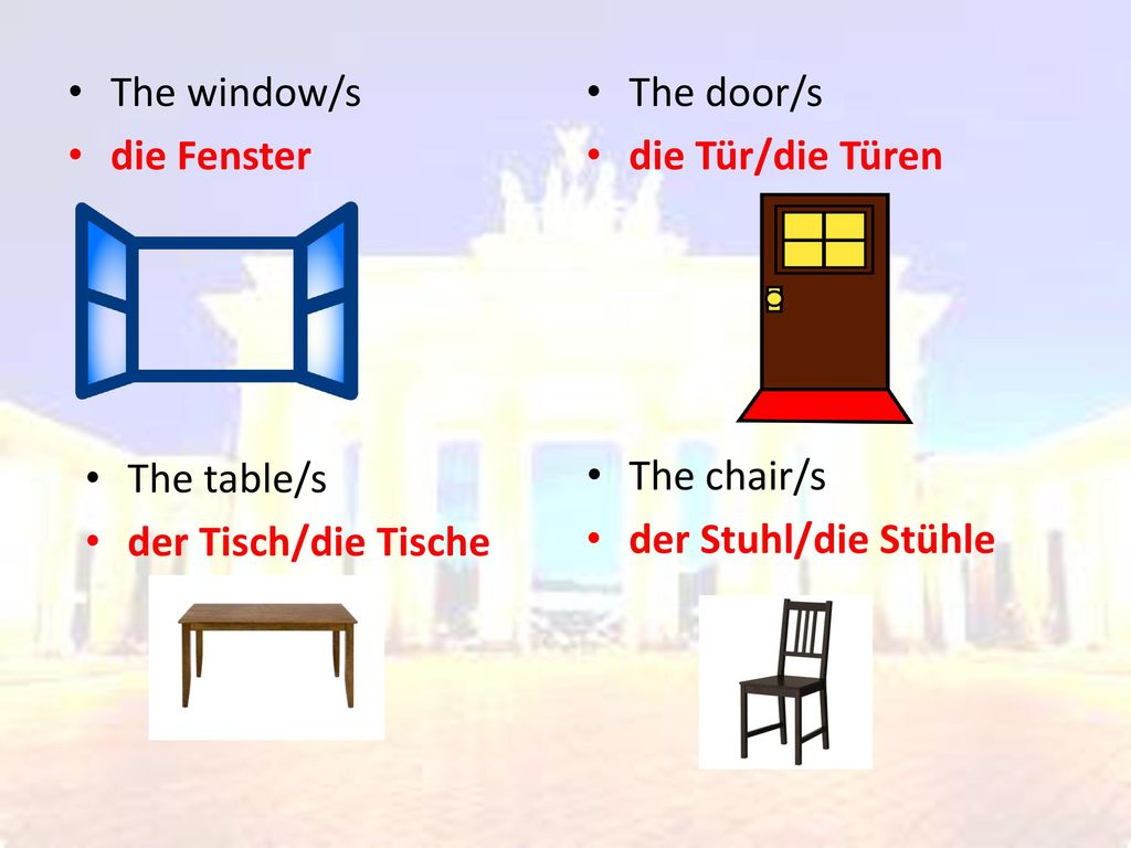 The window/s die Fenster. The door/s. die Tür/die Türen. The table/s. der Tisch/die Tische. The chair/s.