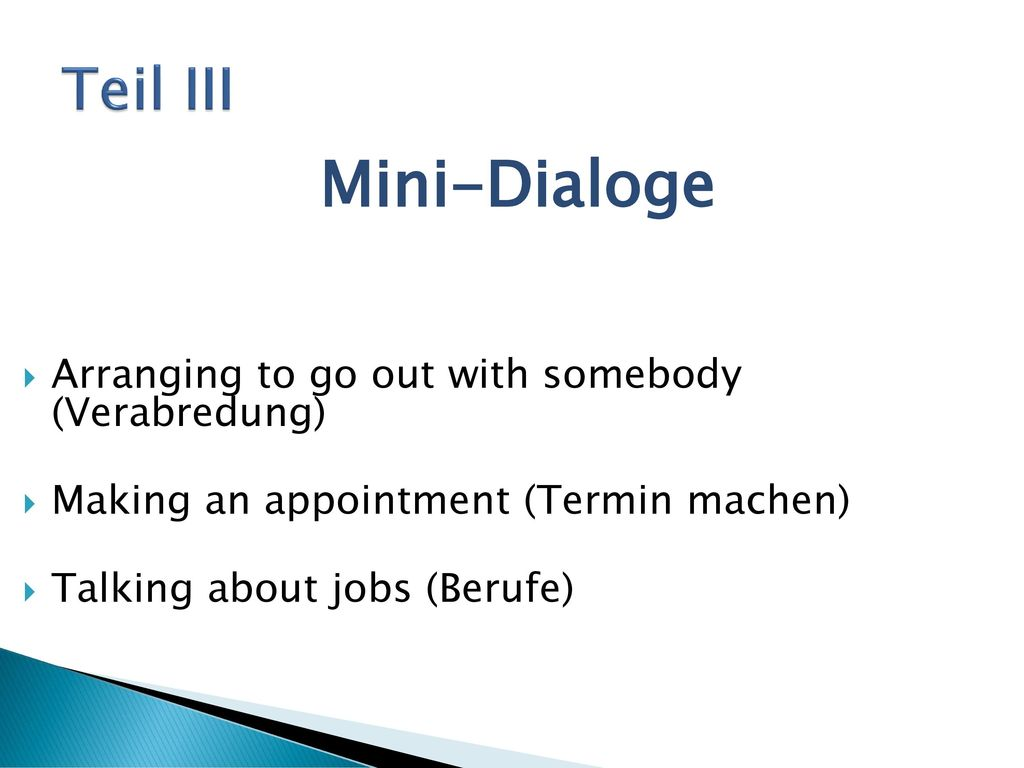 Mini-Dialoge Teil III Arranging to go out with somebody (Verabredung)