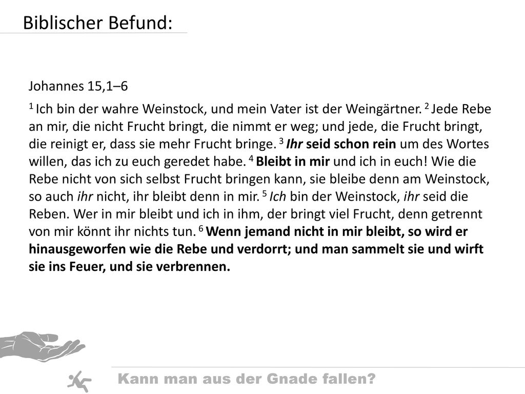 Biblischer Befund: Johannes 15,1–6