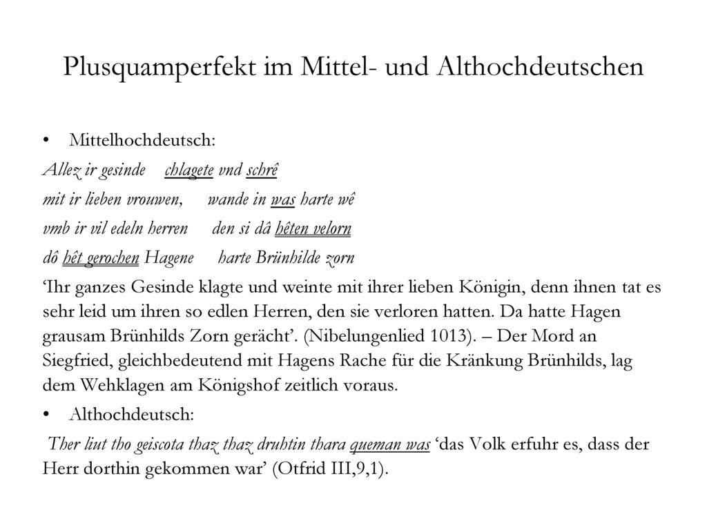 Plusquamperfekt im Mittel- und Althochdeutschen