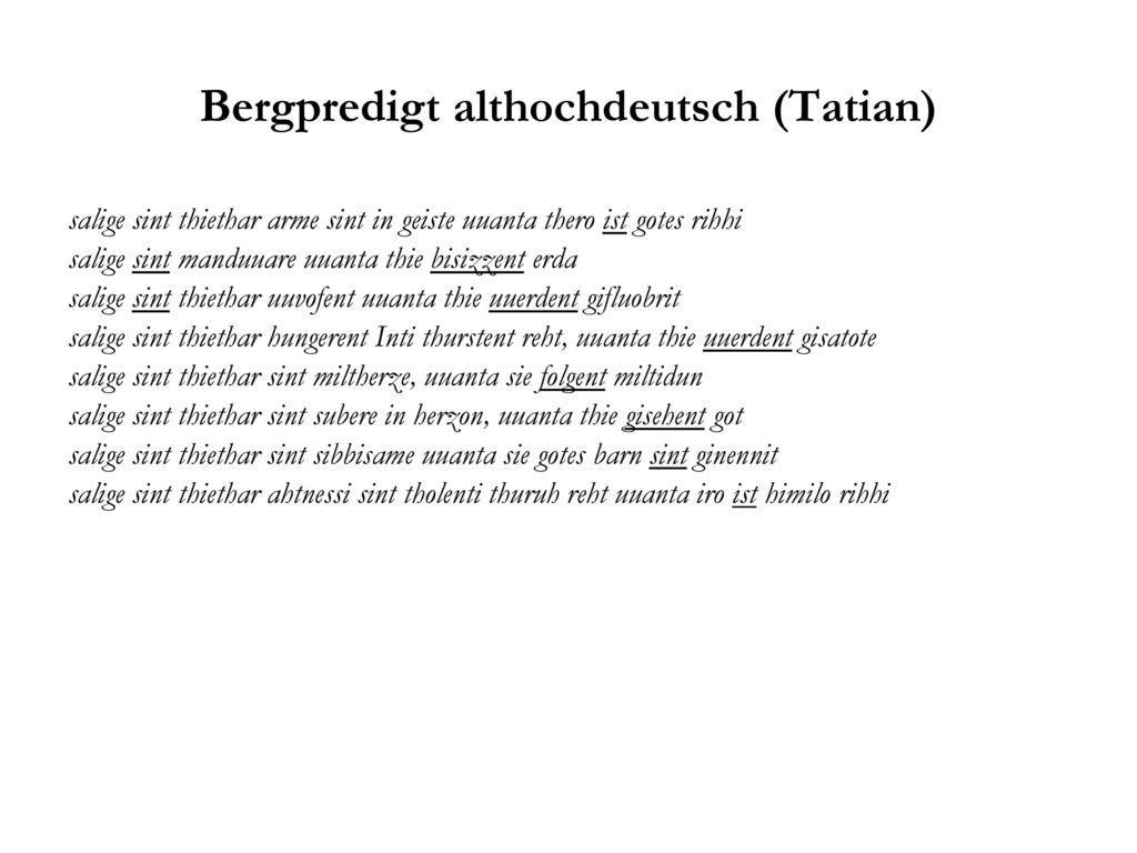 Bergpredigt althochdeutsch (Tatian)