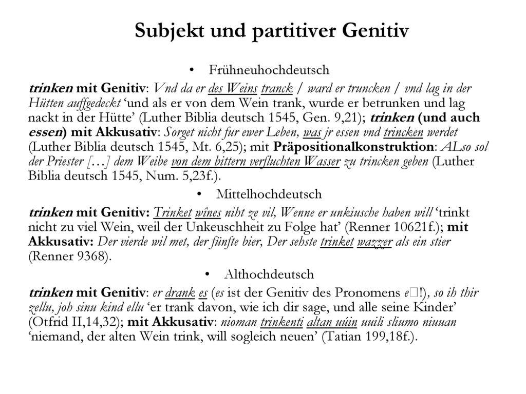 Subjekt und partitiver Genitiv