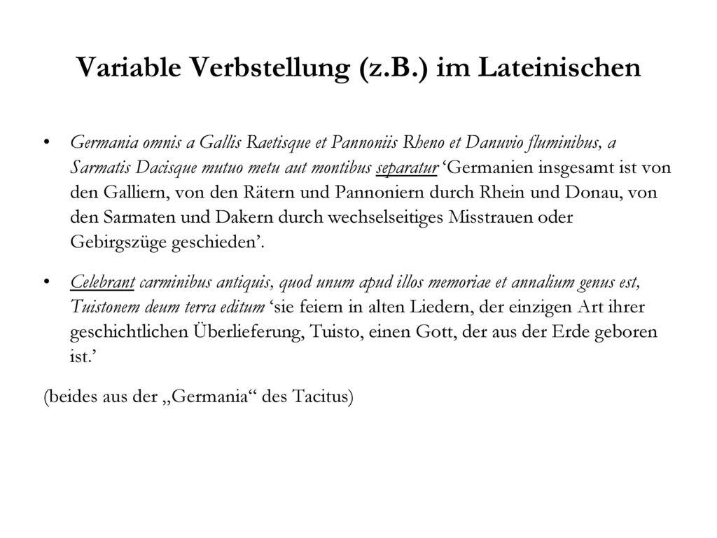 Variable Verbstellung (z.B.) im Lateinischen