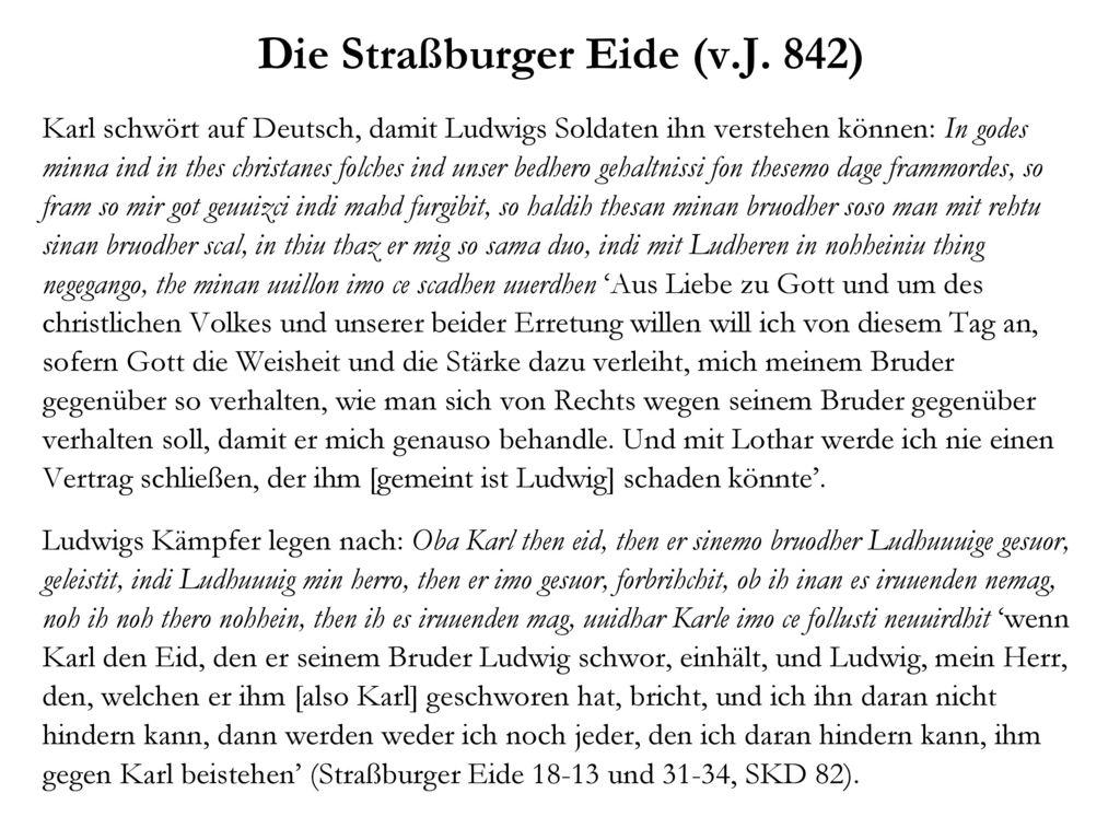 Die Straßburger Eide (v.J. 842)