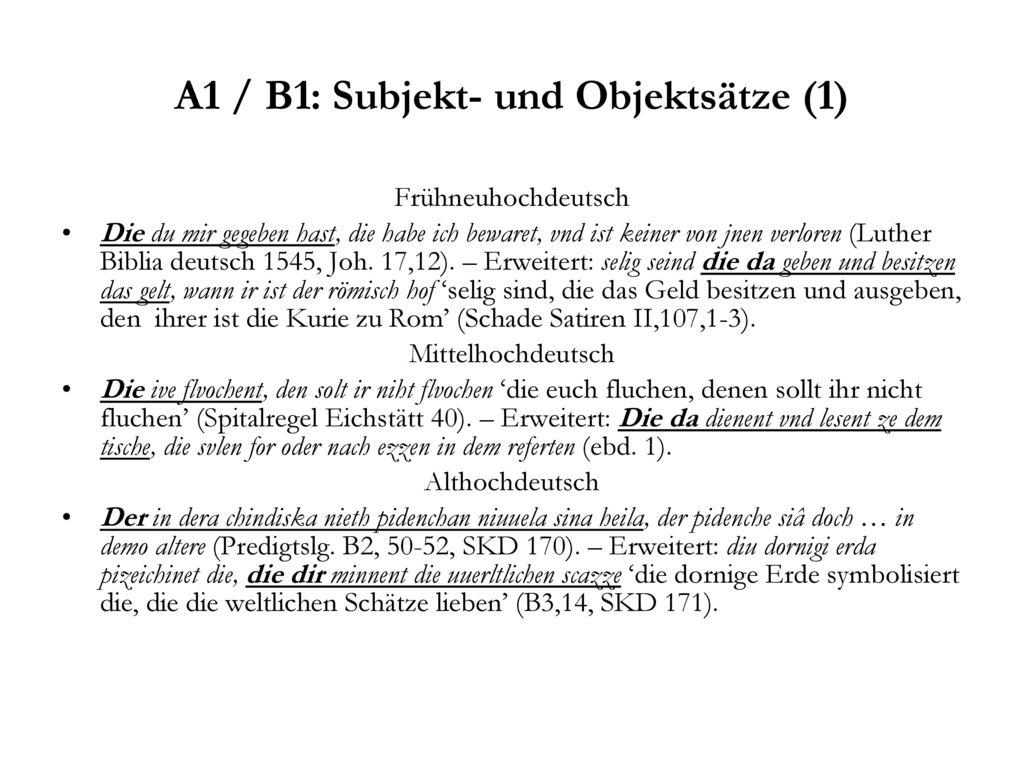 A1 / B1: Subjekt- und Objektsätze (1)