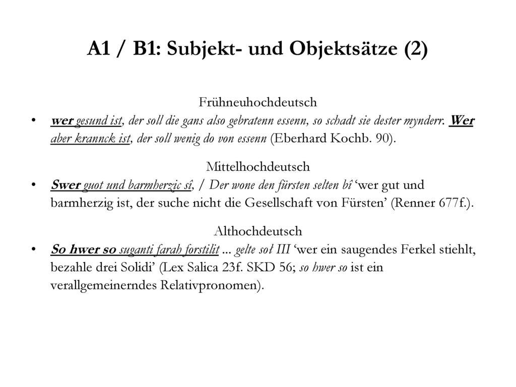 A1 / B1: Subjekt- und Objektsätze (2)